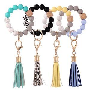 Keychains Silicone Keyring para mulheres Borla Beads de madeira Pulseira Keychain Chaves Multicolor atacado Acessórios 2021 Tendência