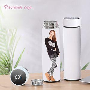 Yaratıcılık Süblimasyon Boşlukları Tumbler Su Şişesi 500 ml Paslanmaz Çelik Düz Vakum Şişesi Kahve Kupa ile LED Dokunmatik Ekran Sıcaklık Hediye