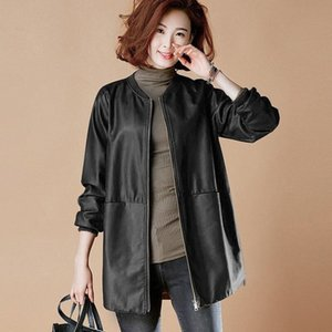 O-Neck Spring Woman's Pu Leather Jackets Long Sleeve Casual Ladies Faux Leather Coats Basic Plus Size Female Jacket with Pockets E3hw#