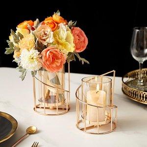 Candle Holders Metal Luxury Glass Holder Designer Gold European Cylinder Vase Bougeoir En Verre Dining Table Decor DL60ZT