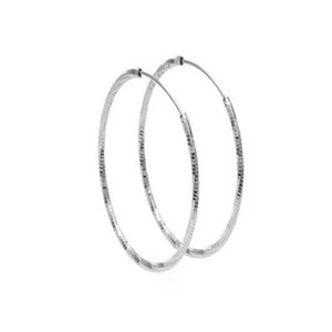 S925 Sterling silver 40mm earring simple Hand-cut noodles sparkling jewelry for women