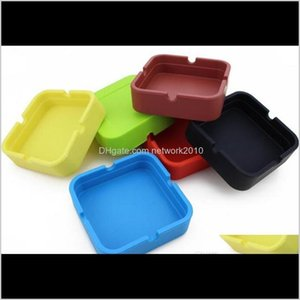 Ashtrays Smoking Accessories Household Sundries Home & Garden Drop Delivery 2021 8*8*2Dot3Cm Portable Soft Fashion Eco-Friendly Pocket Shatte