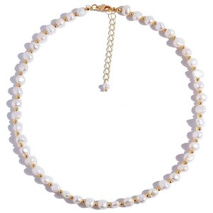 Big Small Frhwater Pearl Chain Jewelry Stainls Steel Beaded Pearl Necklace