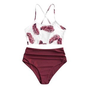 Bikini Beachwear Women's Bikinis Set Women Swimwear Lace Up Biquini Swimsuit Female Bathing Suit Push Sexy Leaf Printed