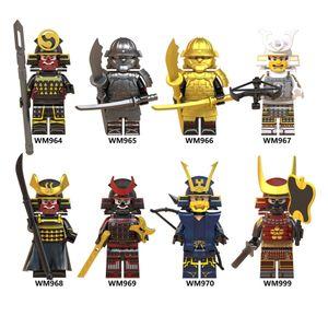 Mini Samurai Figure Building Blocks Toys for Kids Wholesale Assembled Brick Figures Sets Children Boy Gifts 4.5CM