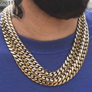 D&Z 6mm-18mm Stainless Steel Miami in White Gold Gold Necklace Classical Cuban Link Choker Chain Men's Hip Hop Jewelry