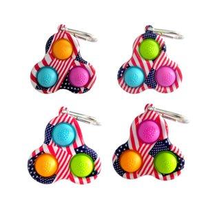 Tiktok Fidget Bubble Poppers Toys Pop it simple dimple key ring ua america flag tie dye color push bubbles puzzle keychain squeeze ball boards