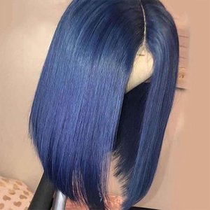 Lace Wigs Straight Bob Front Human Hair With Baby Dark Blue Wig Brazilian Closure For Women T Part