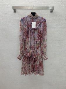 Designer Dresses 2021 Autumn Stand Collar Long Sleeve Panelled print Fashion Milan Runway Brand Same Style Dress 0809-24