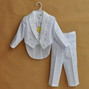 Suits Baby Boys Formal Blazer For Weddings Toddler White black 5pieces set Costume Infant Cotton Single Breasted