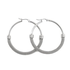 Stainless Steel Hoop Earrings Silver Color Round Fashion Female For Women 2021 , 1 Pair & Huggie