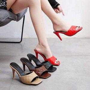 İnce Yüksek Topuklu Seksi Bayan Ayakkabı Yaz Dalga Terlik Kadın Kadın Katırlı Katı Deri Rahat Slaytlar Artı Boyutu