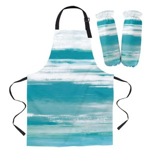 Aprons Abstract Cyan Turquoise Texture Kitchen For Women Bibs Household Cleaning Pinafore Home Cooking Apron