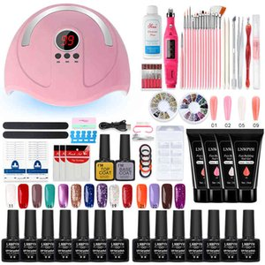 LNWPYH Manicure With Led Lamp Polygels Kit 20000RPM Drill Machine 14 6 Colors Poly Extension Nail Gel Set