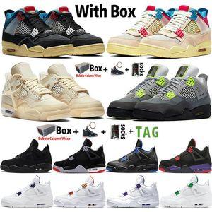 4s Beyaz Yelken Birliği Guava Noir Se Neon 2021 Siyah Kedi Jumpman 4 Erkek Basketbol Ayakkabı Mahkemesi Mor Bred Eğitmenler Tasarımcı Spor Sneakers