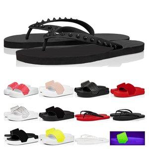 Lüks Tasarımcısı Kırmızı Dipleri Terlik Havuz Eğlenceli Erkek Düz Flip Floplar Donna Çivili Spike Siyah Beyaz Sarı Süet Spor Açık Boyutu 36-46