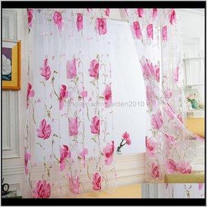 Curtain & Drapes Tulle Brilliant Flower Pattern Vines Leaves Door Window Curtains Drape Panel Sheer Scarf Modern Valances Tna7H Khcnu