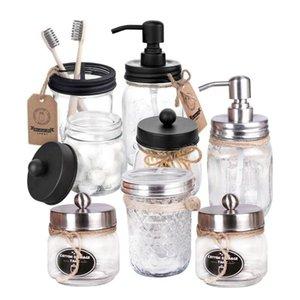 Accessorio da bagno Set 3 PZ MASON JAR SAPSER DA SOAP Supporto per uso del sapone trasparente Accessori per il bagno in acciaio inox