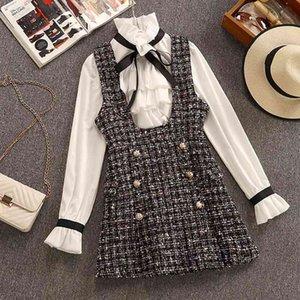 2020 가을 겨울 2 조각 세트 수트 드레스 여성 우아한 프릴 쉬폰 활 셔츠 탑 + 더블 브레스트 격자 무늬 트위드 조끼 드레스 T200825