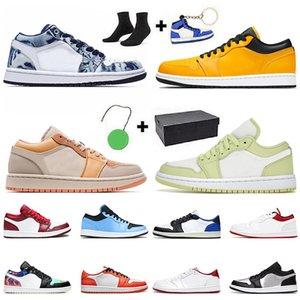 مع مربع الهواء جوردن 1 أحذية كرة السلة رجل إمرأة jumpman 1 ثانية ترافيس سكوتس منخفضة الأضواء أحذية رياضية بيضاء اسكواش الحمراء القطب الشمالي لكمة المدربين