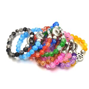 10 Candy Colors Expandable Bead Stretch 044 Strand Bracelet 18mm Snap Button Resin Bangle Charm Jewelry Women