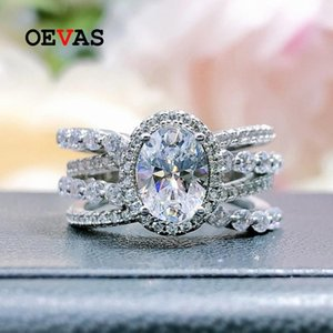 Cluster Rings OEVAS 100% 925 Sterling Silver 6*8mm Oval High Carbon Diamond For Women Sparkling Wedding Party Fine Jewelry Wholesale