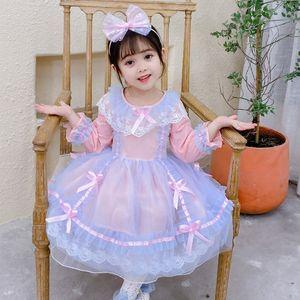 Vestidos de niñas Cekcya Spanish Girls Vestido Bebé Lolita Princesa Bola Bolsa Infantil Lace Bow Ropa Niños Cumpleaños Eid Party Tulle Vestidos
