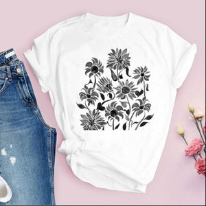 Women Printing Tops Plant Graphic Cartoon 90s Cute Flower Floral Print Lady Tees Clothing Female T Shirt Womens