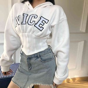 ZHISILAO Crop Tops Short Sweatshit Women White Letter Print Hoodies 2021 Sexy Embroidery Corset Pullover Hooded Streetwear