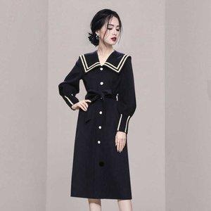 Vestidos Winter Autumn 2021 New Office Lady Korea Style Fashion Print High Waist Turn-down Collar Belt Zipper Dresses Traf Robe G1011