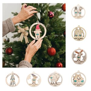 Christmas Tree Ornaments Putting it all behind us Wooden Pendant Hollow Couple Snowman Deer Xmas Decorations w-00933
