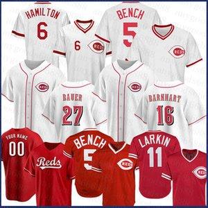 신시내티 맞춤 레드 14 Pete Rose Baseball Jersey 11 Barry Larkin 5 Johnny Bench 27 Matt Kemp 30 Ken Griffey JR 19 조이 벳토 닉네젤