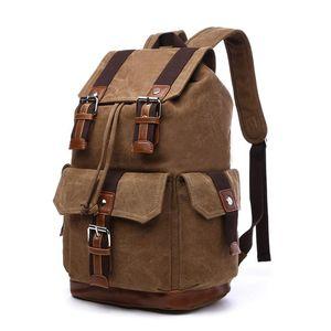Backpack Men's Student School Bag Korean-style Canvas Bucket Casual Outdoor Travel