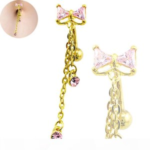 Body Belly Button Rings Gold Plated Stainless Steel Barbell Dangle Rhinestone Long Chain Navel Rings Piercing Jewelry