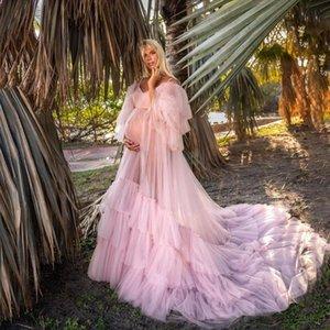 Уникальный розовый с плечевой оборками рукава длинные халаты платья для беременных кружевят назад посмотреть свадебные платья до повсюда