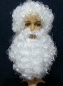 Noel Hallowmas Erkekler Noel Baba Peruk + Sakal Takım Elbise Nisan Fools 'Günü Kostüm Balo Baba Noel Ücretsiz Gemi