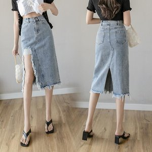 Ladies Summer Casual Cowboy Skirts Women Tassel Split Hem A-line Belt High Waist Denim Skirt Elegant Mid-Calf Office Lady