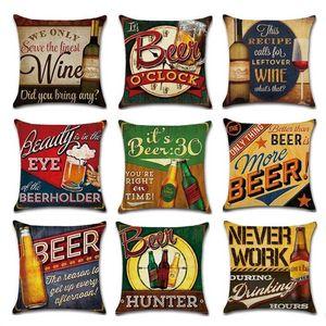 Beer Wine Retro Style Pillow Case Linen Home Decorative Throw Cushion Cover Party Bar Sofa Seat Pillowcase