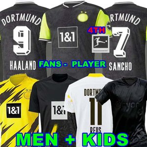 Version du joueur 1990 Édition limitée Haaland Reus Borussia 20 21 4ème Jersey de football Dortmund 2020 2021 Chemises de football Bellingham Sancho Hummels Brandt Hommes + Kit Kit