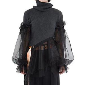 Alto cuello organza con volantes de linterna de manga de suéter de costura