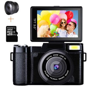 Digital Cameras Professional 24MP Video Camera 4X Zoom Rotatable Screen Full 1080P Anti-shake SLR Camcorder Po W  Wide Lens And 32GB Card