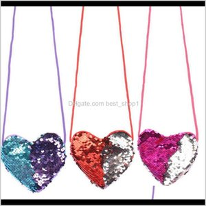 Event Festive Supplies Home Garden Drop Delivery 2021 Sequins Heart Handbag 6 Colors Kids Loving Shoulder Baby Girls Mini Messenger Bag Carto