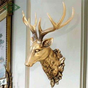 3D олень голова скульптура росписи домой стена висит животных статуя украшения смола ручной работы европейская деревня орнамент искусства ремесло 210414