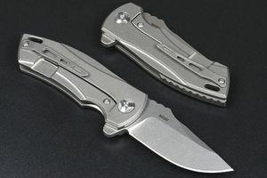Factory Price Flipper Folding Knife M390 Stone Wash Drop Point Blade CNC TC4 Titanium Alloy Handle Ball Bearing Fast Open EDC Pocket Knives
