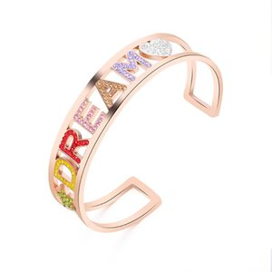 Rainbow White Color Dream Letter Adjustable Love Heart Star Stainless Steel Bangles For Woman Vintage Jewelry Gift Bangle