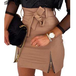 Jupes Jupe Jupe Femmes Sexy Solide Couleur Faux En Cuir Zippers High Taille Ceinture Bormon Mini Noir S-2XL Vêtements pour femmes 2021