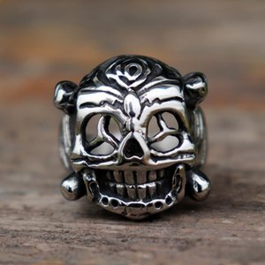 Mens Stainless Steel Ring Ethnic Retro Style Mexican Skull Biker Rings Rock Punk Jewellery Cluster