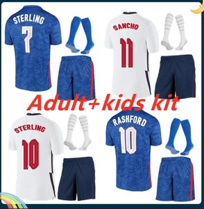 Взрослый Kids Kit 21/22 Sancho Soccer Jersey 2021 Kane Sharling Vardy Rashford Dele Abraham Футбольная рубашка Униформа