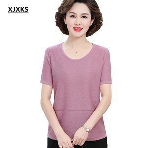 Women's T-Shirt XJXKS Pure Color All-match Short-sleeved Top Women 2021 Summer Loose Plus Size Casual Round Neck
