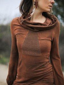 Женщины футболки моды дизайнеры 20 лет Осенью и зимняя рука верхняя большая средняя длина галстука окрашена с высоким воротником Нижнее пальто Тис Поло Соответствующие леггинсы и платья
